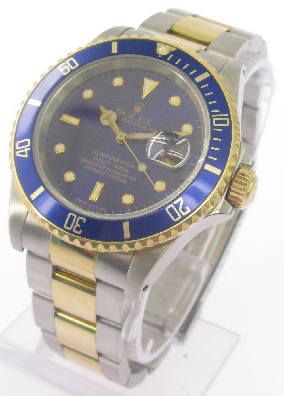 rolex submariner stahl gold blau zertifikat von 1989 ebay. Black Bedroom Furniture Sets. Home Design Ideas