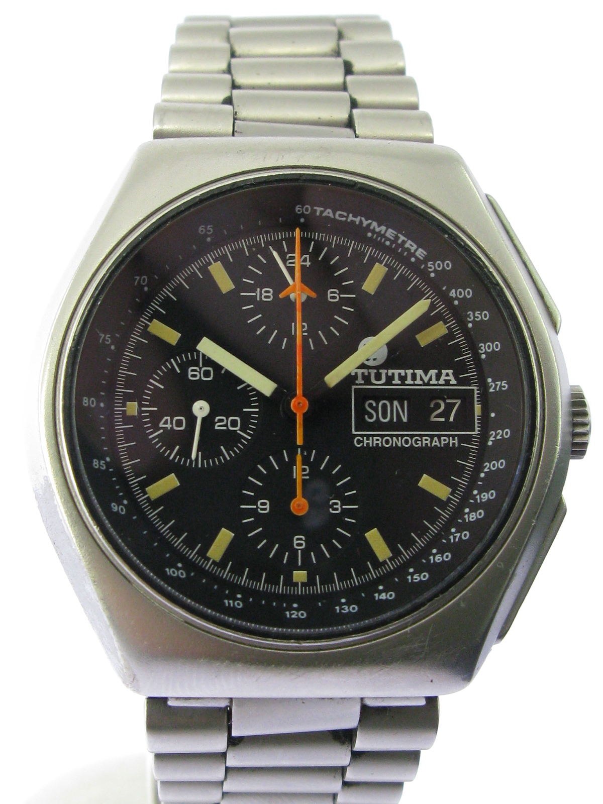 tutima military stahl chronograph automatik herren 90er ebay. Black Bedroom Furniture Sets. Home Design Ideas