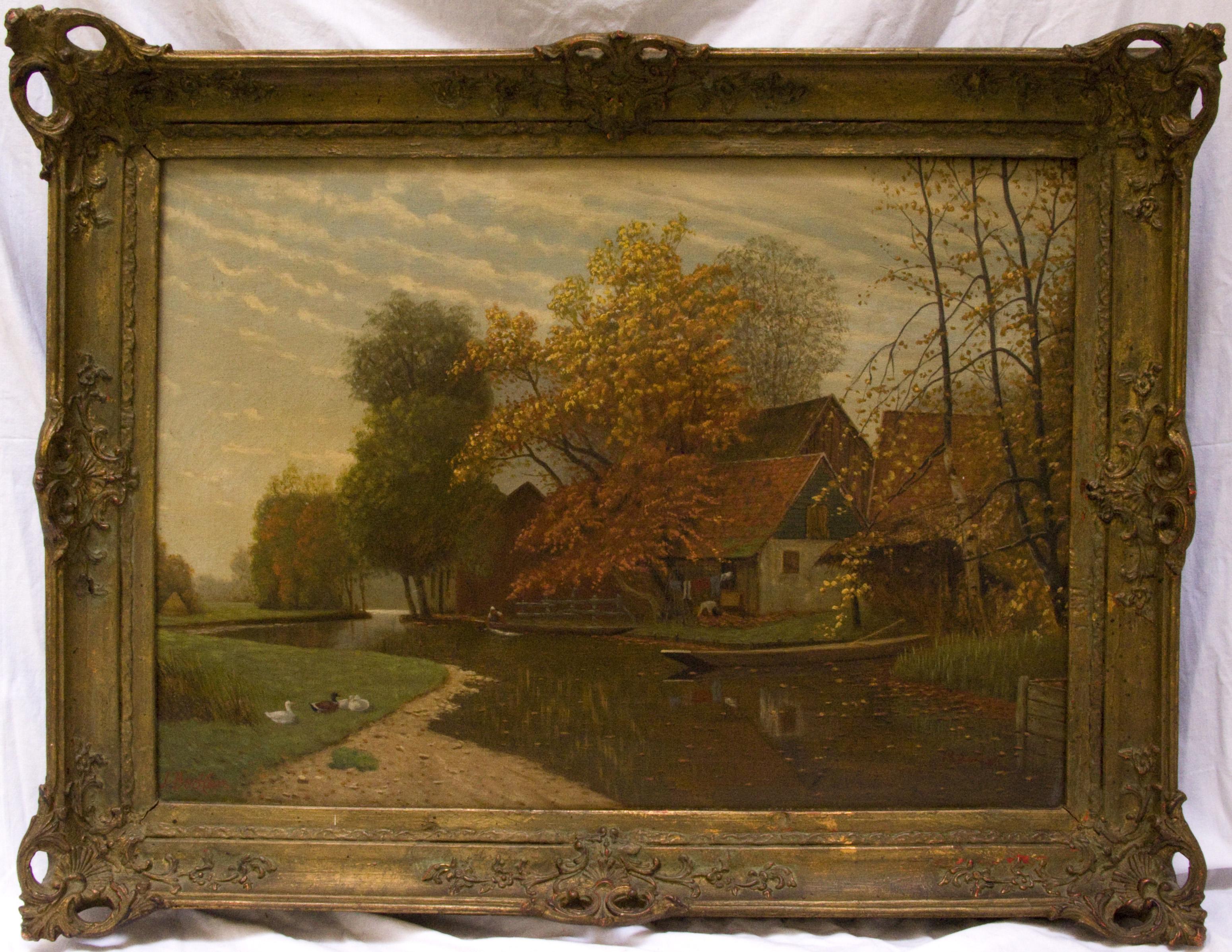 J. Becker - Haus am Fluss - Öl auf Leinwand | eBay