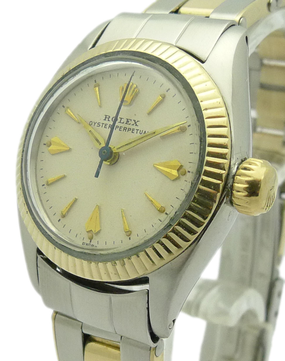 rolex lady oyster perpetual stahl gold ref 6619 1962 ebay. Black Bedroom Furniture Sets. Home Design Ideas