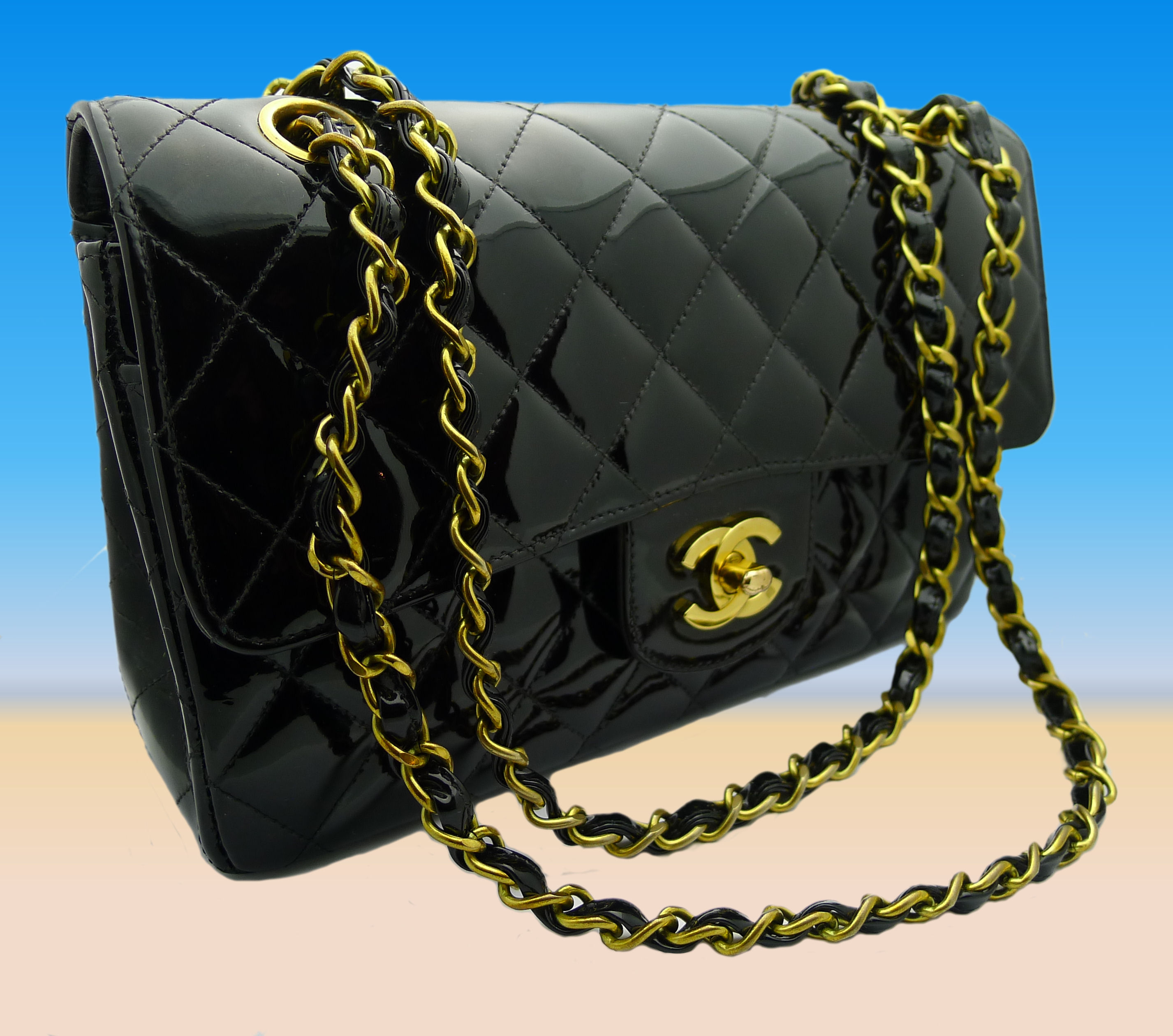 chanel tasche handtasche schwarz lackleder ebay. Black Bedroom Furniture Sets. Home Design Ideas