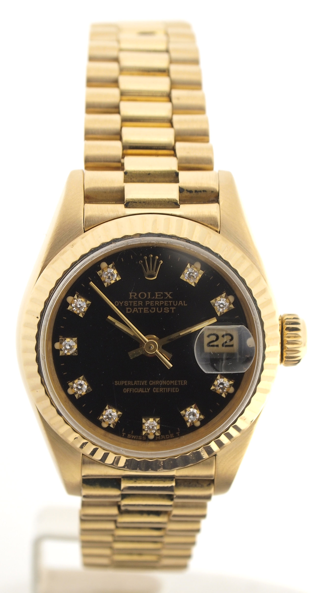 rolex lady datejust armbanduhr in gold zifferblatt mit diamanten 1980er ebay. Black Bedroom Furniture Sets. Home Design Ideas