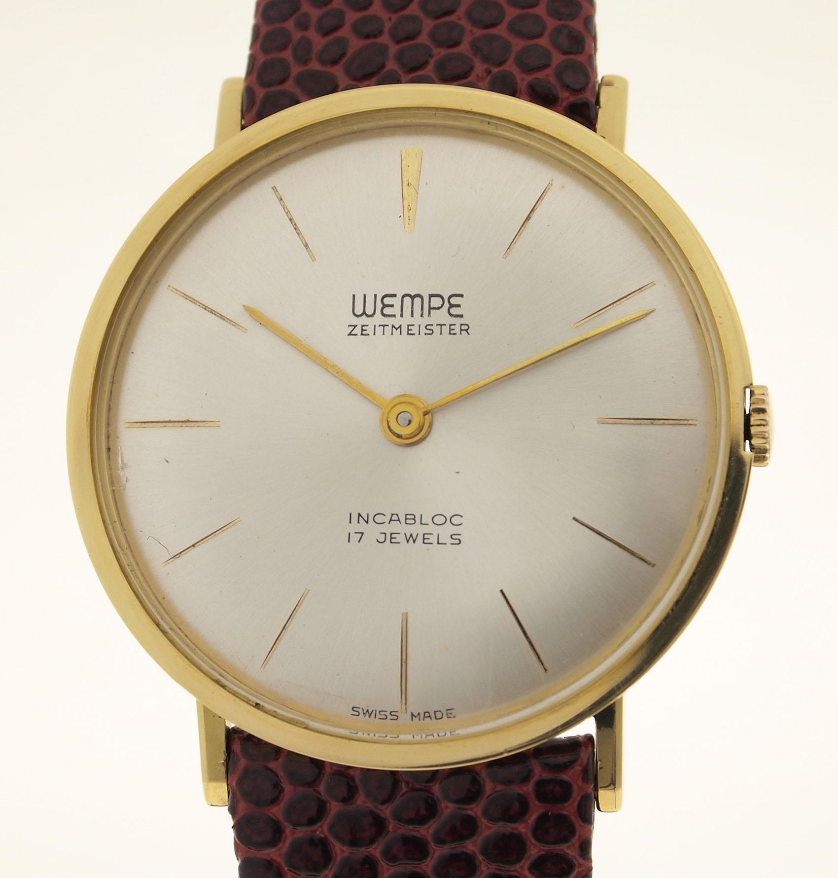 wempe zeitmeister herren armbanduhr in 18ct gold 1960er. Black Bedroom Furniture Sets. Home Design Ideas