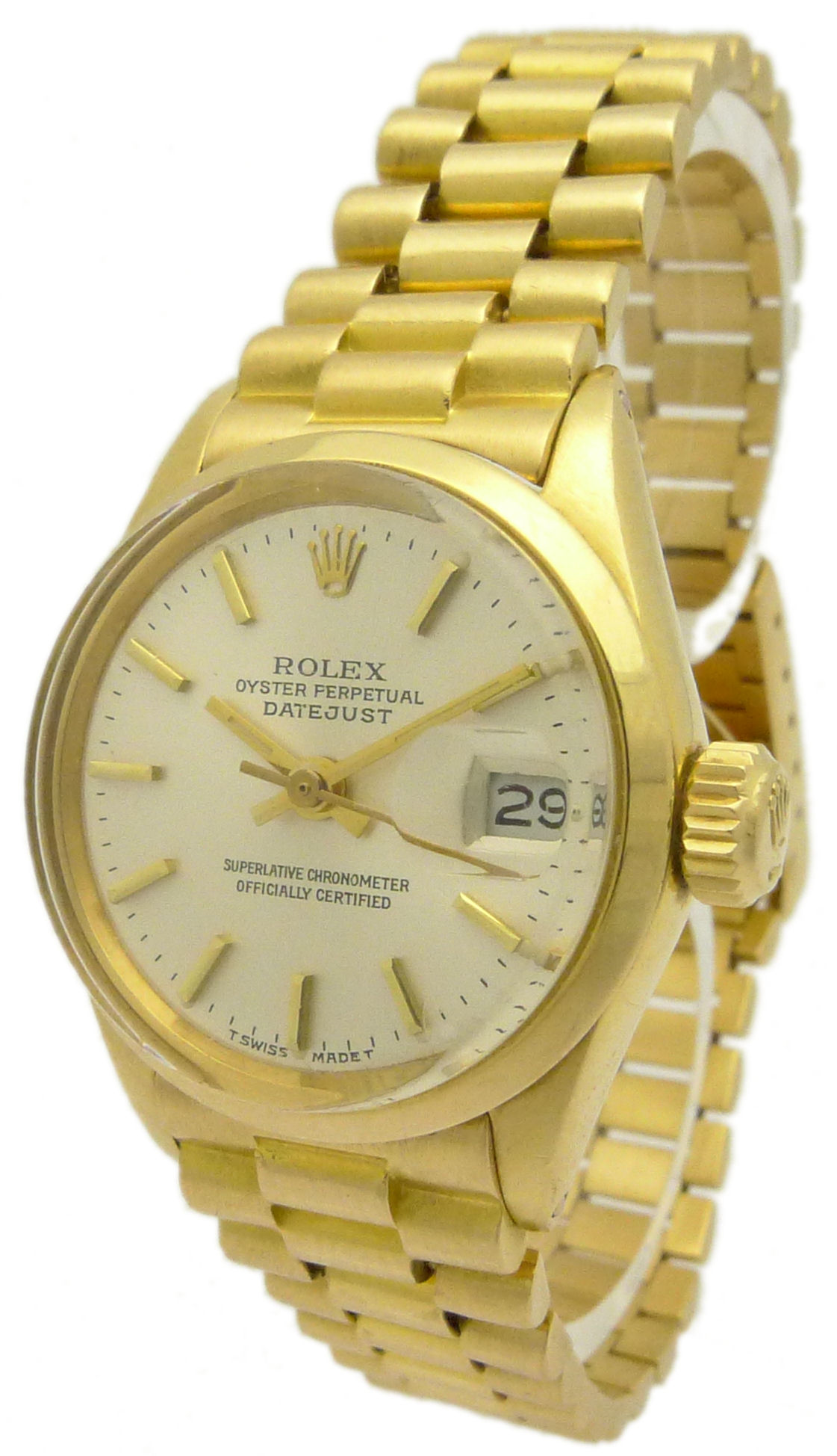 rolex lady datejust pr sident damenuhr ref 6516 18 kt gold mit zertifikat ebay. Black Bedroom Furniture Sets. Home Design Ideas