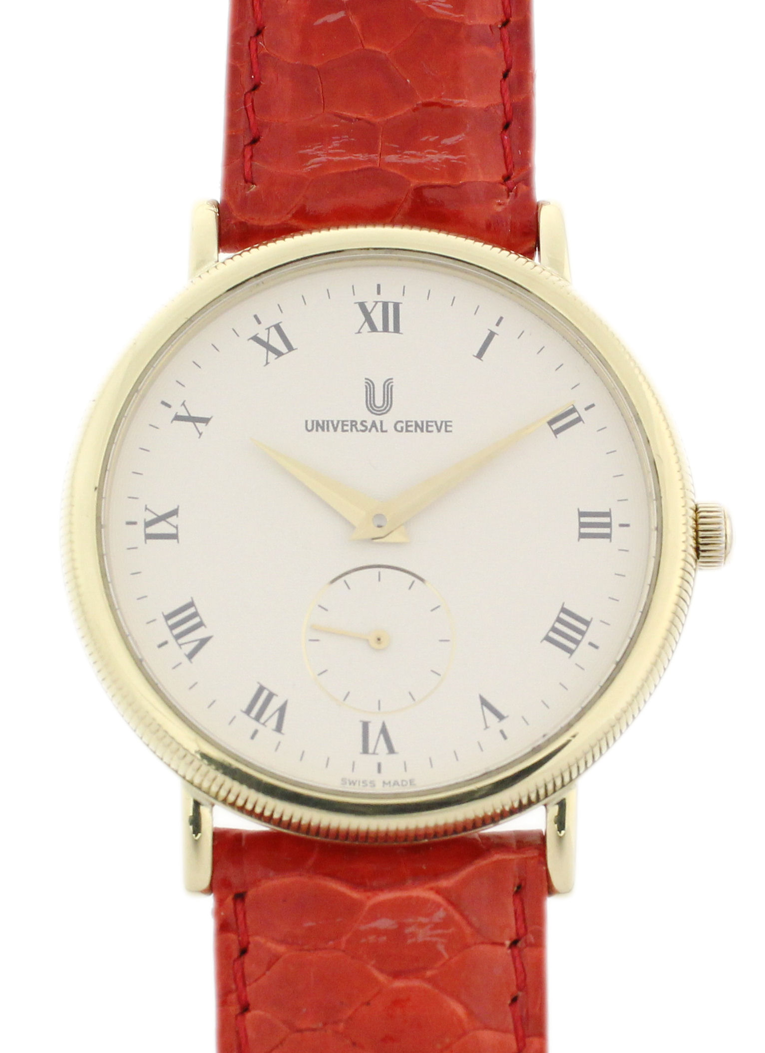 universal geneve 18ct gold herren armbanduhr sehr flach. Black Bedroom Furniture Sets. Home Design Ideas