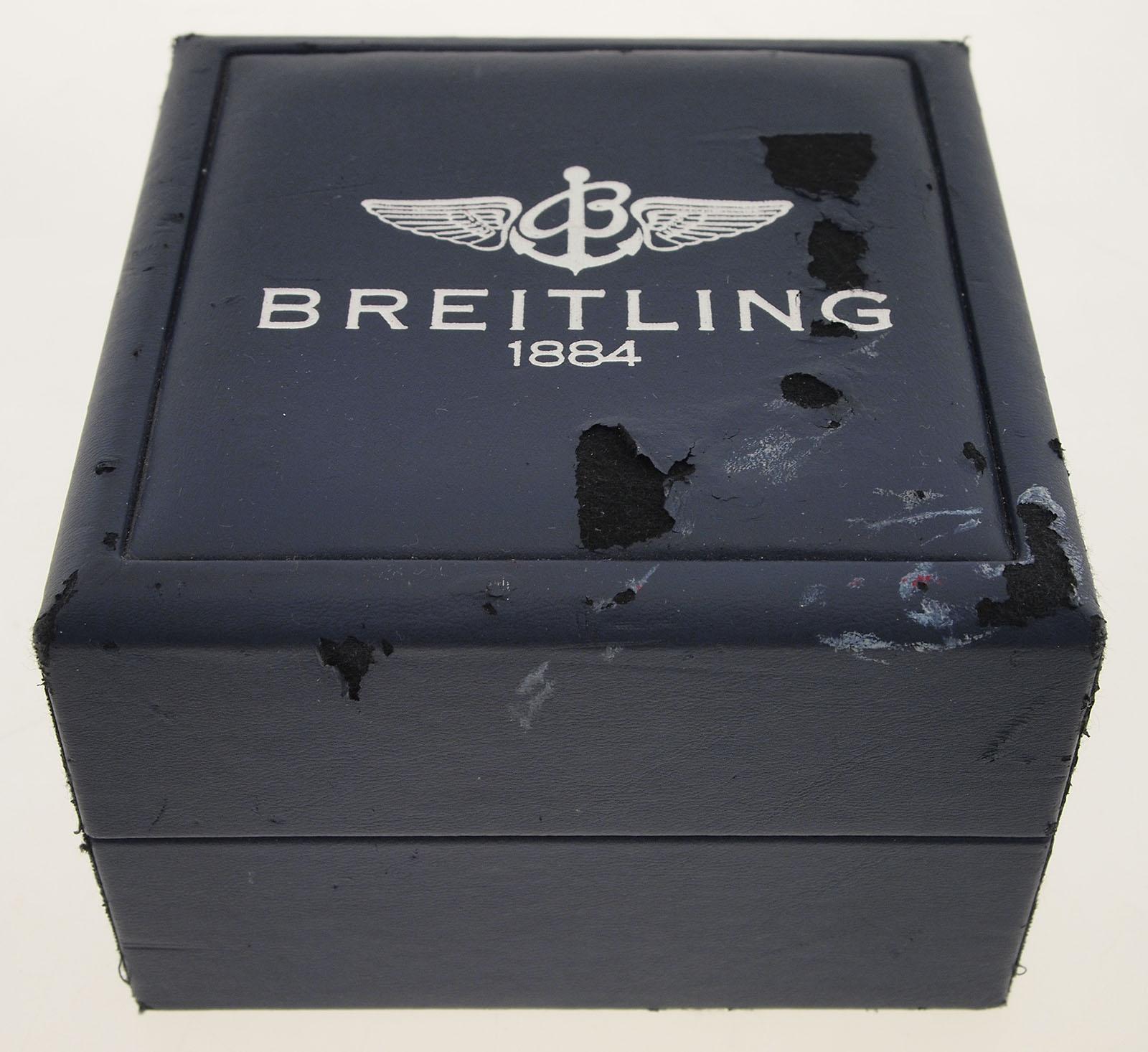 original breitling box blau mit uhrenkissen und. Black Bedroom Furniture Sets. Home Design Ideas