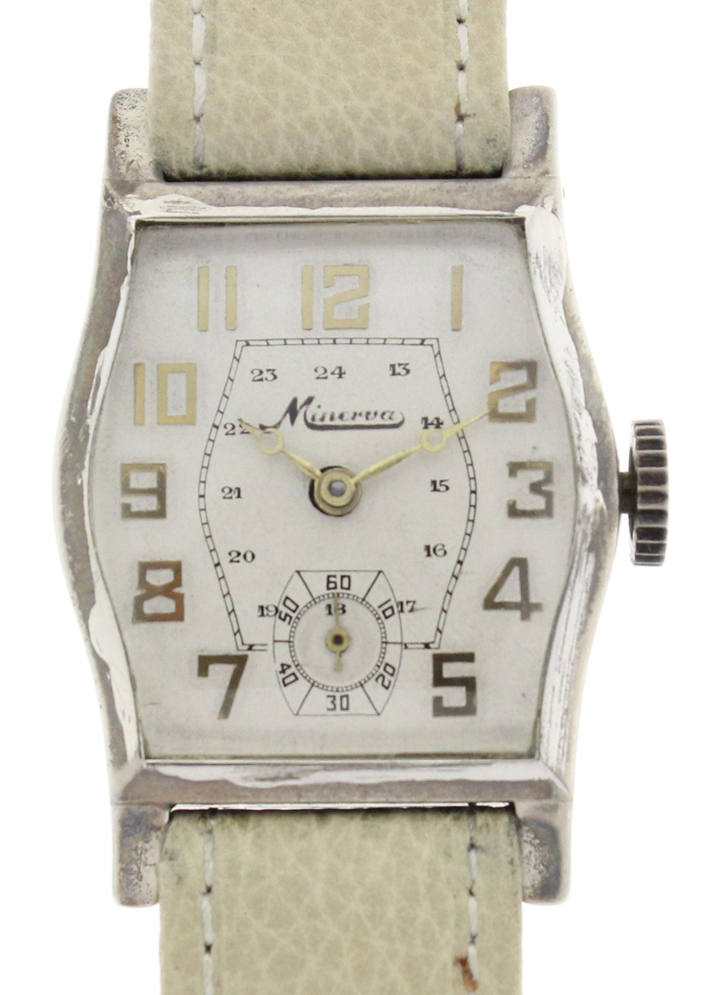 Minerva tonneau herren armbanduhr in 800er silber selten for Lampen 40er jahre