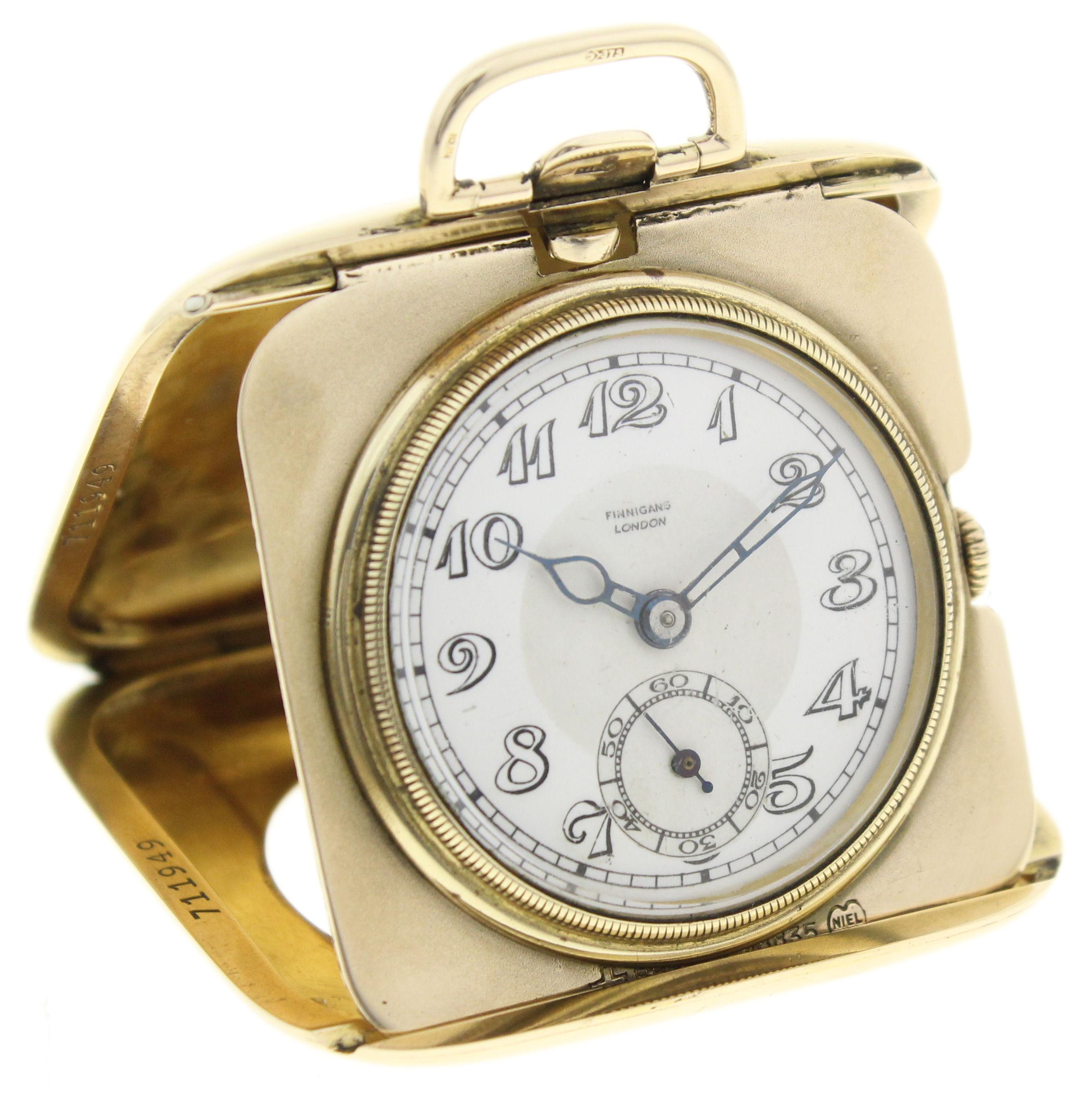 finnigans london 9ct gold reisetaschenuhr sehr selten aus den 20 30er jahren ebay. Black Bedroom Furniture Sets. Home Design Ideas