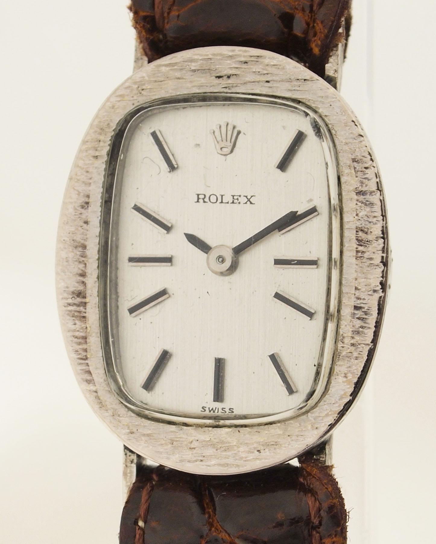 rolex damen armbanduhr in 18ct weissgold 1960er jahre kaliber 1400 ebay. Black Bedroom Furniture Sets. Home Design Ideas