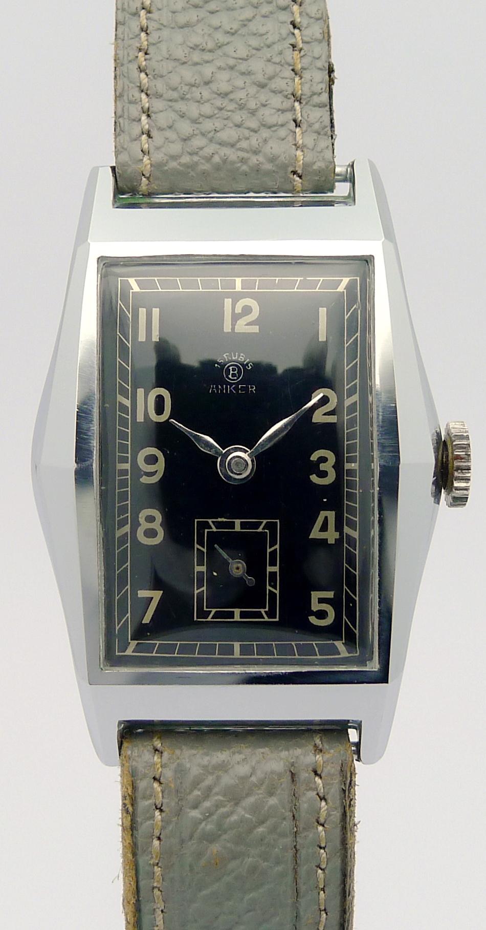 Anker art deco design stahl herren armbanduhr aus den 30 for Mobel aus den 40er jahren