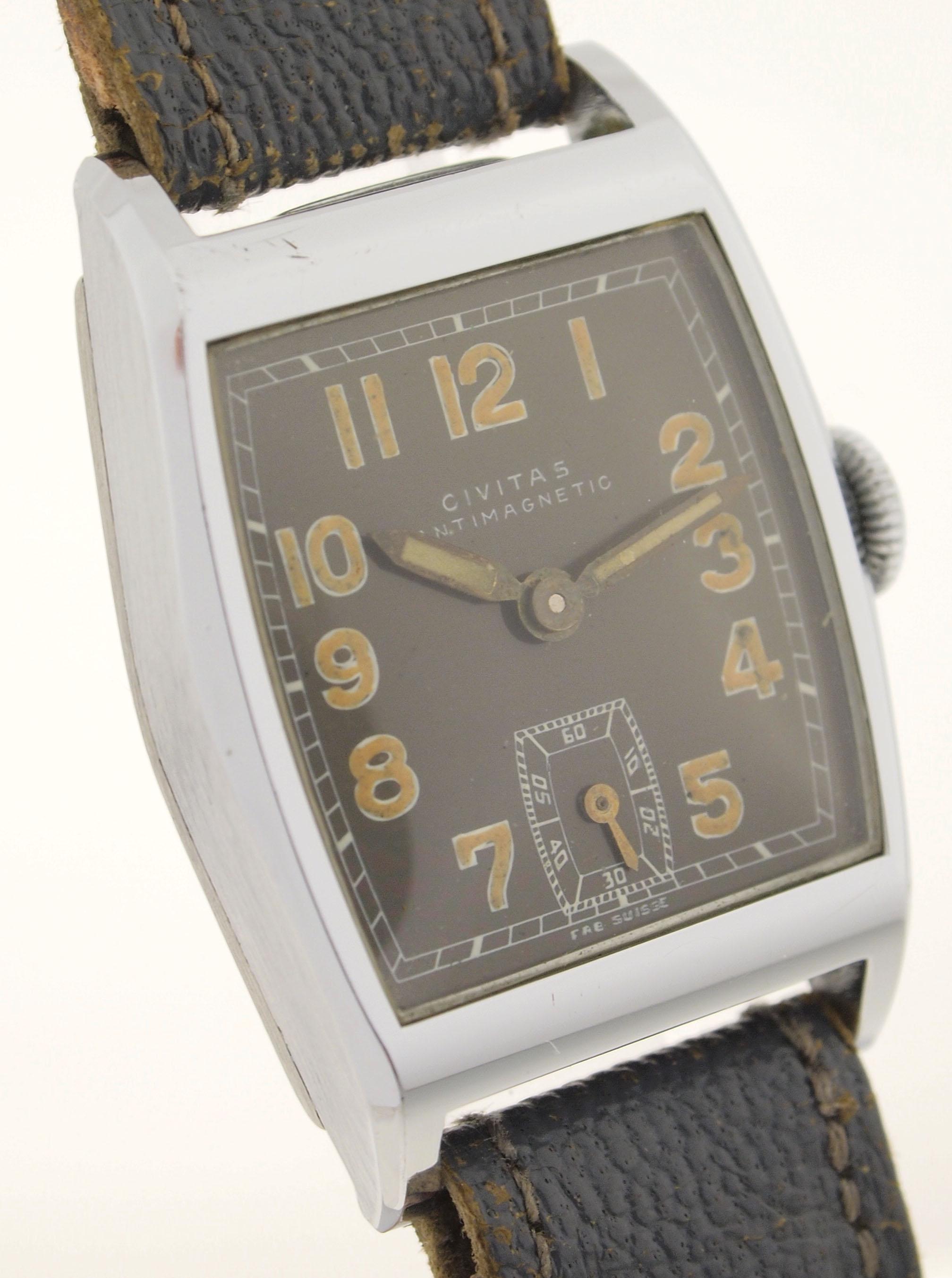 civitas herren armbanduhr in edelstahl art deco uhr aus den 1930er jahren ebay. Black Bedroom Furniture Sets. Home Design Ideas