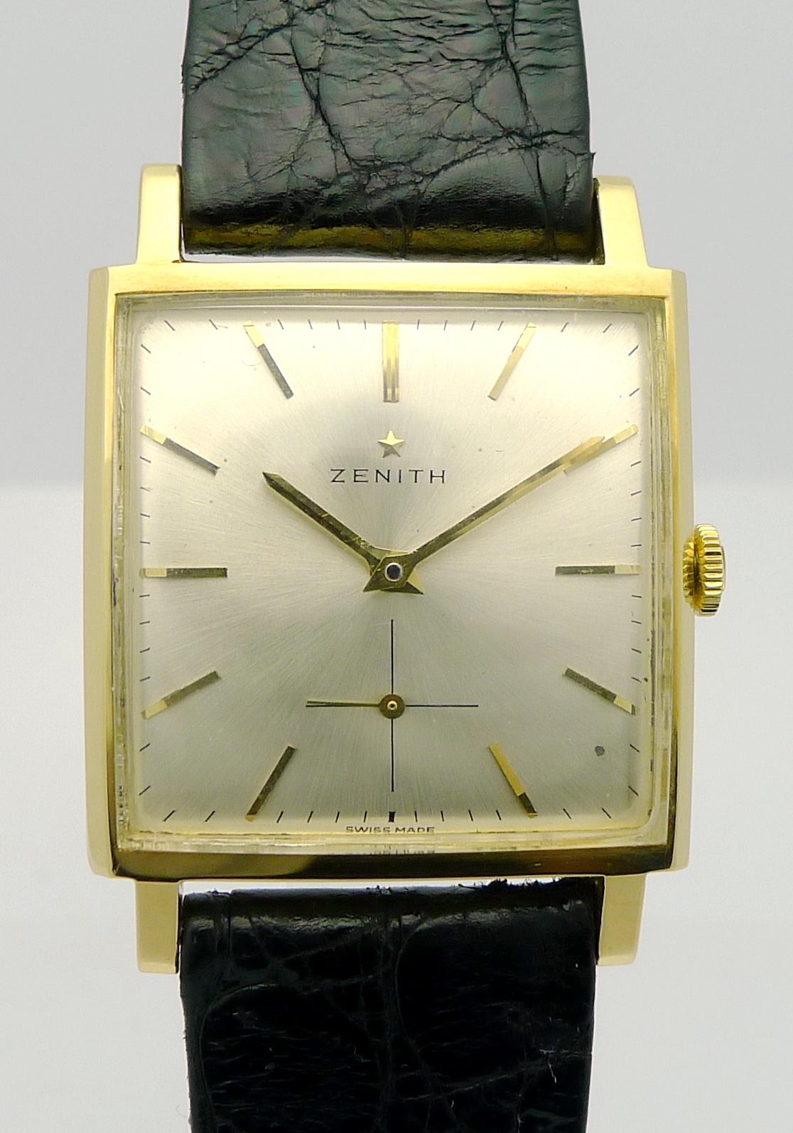 zenith 18ct gold herren armbanduhr klassiker aus den. Black Bedroom Furniture Sets. Home Design Ideas