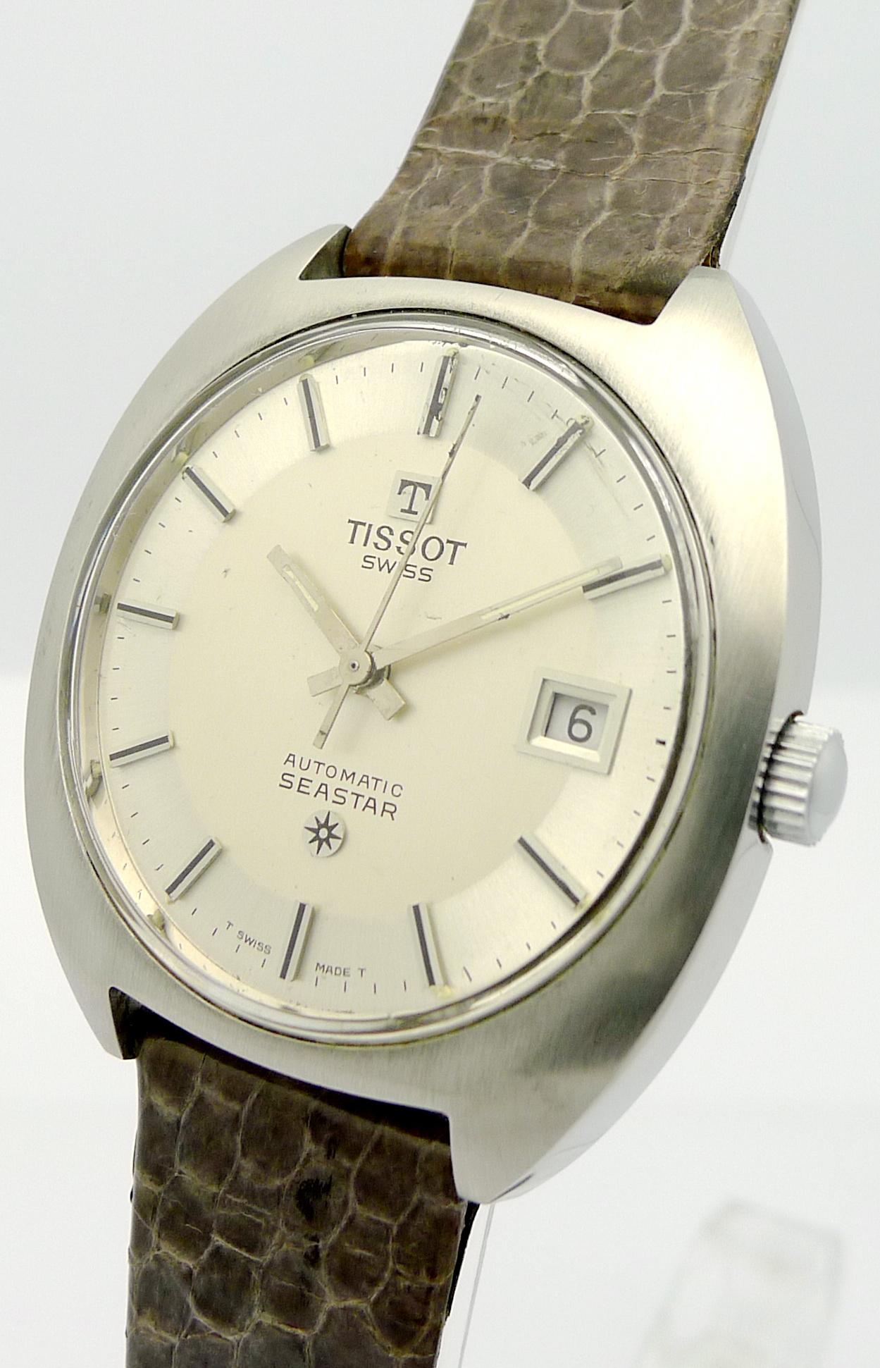 tissot seastar stahl herren automatik armbanduhr aus den 70er jahre. Black Bedroom Furniture Sets. Home Design Ideas