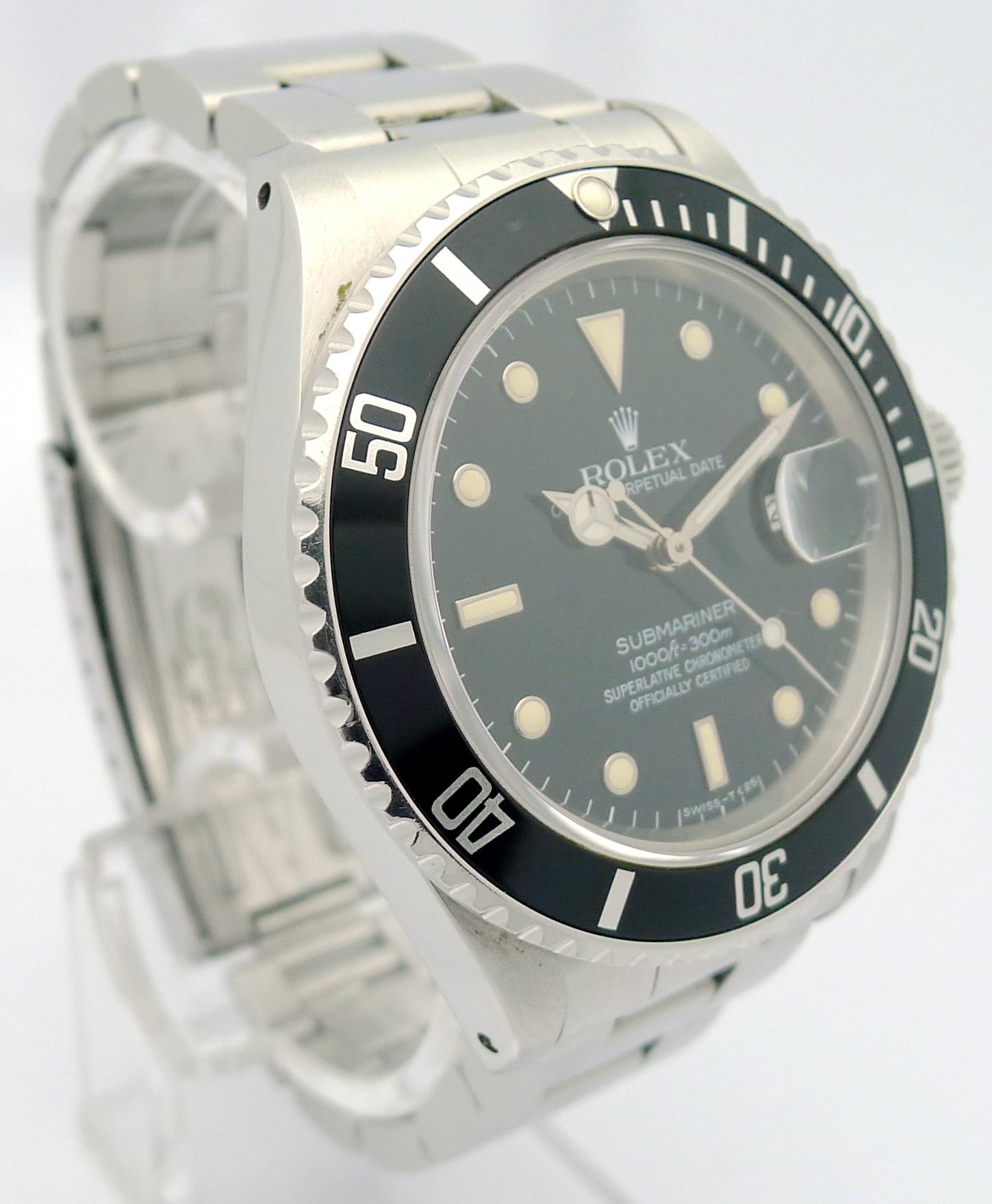 rolex submariner stahl herren armbanduhr ref 16800 von 1985 ebay. Black Bedroom Furniture Sets. Home Design Ideas