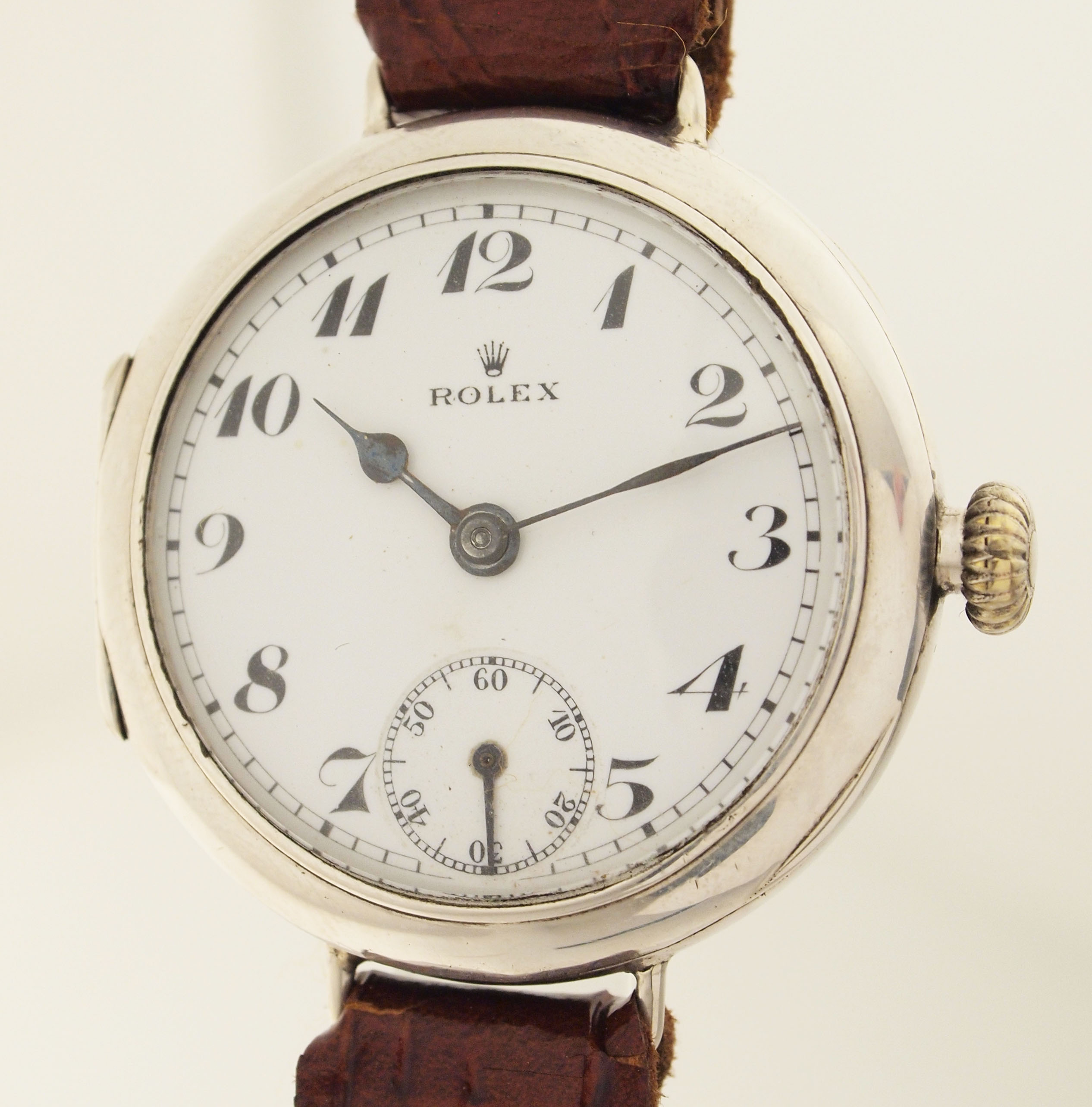 rolex eine der ersten armband uhren v hans wilsdorf london um1918 925er silber ebay. Black Bedroom Furniture Sets. Home Design Ideas