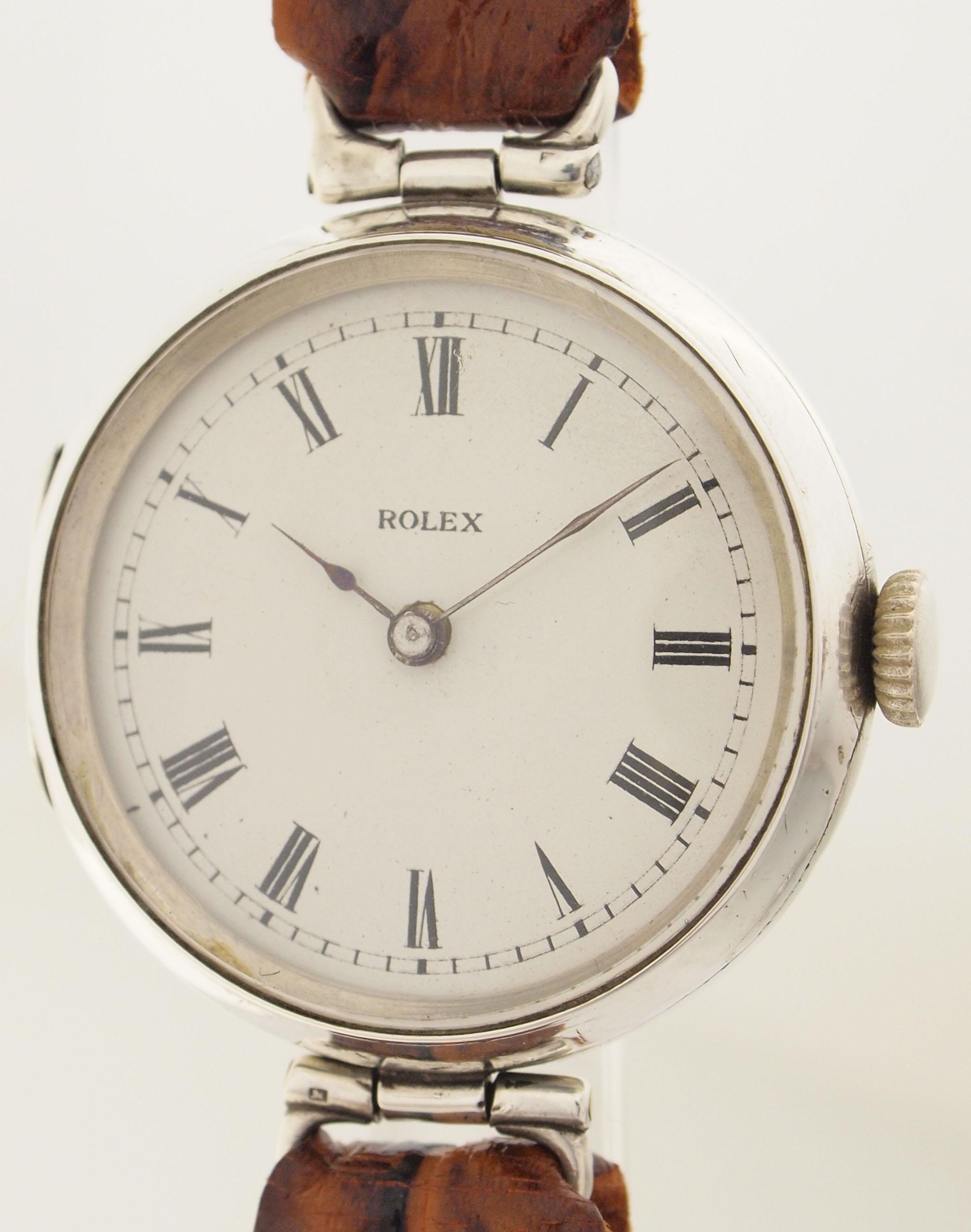 rolex eine der ersten armband uhren wilsdorf london um 1919 925er silber. Black Bedroom Furniture Sets. Home Design Ideas