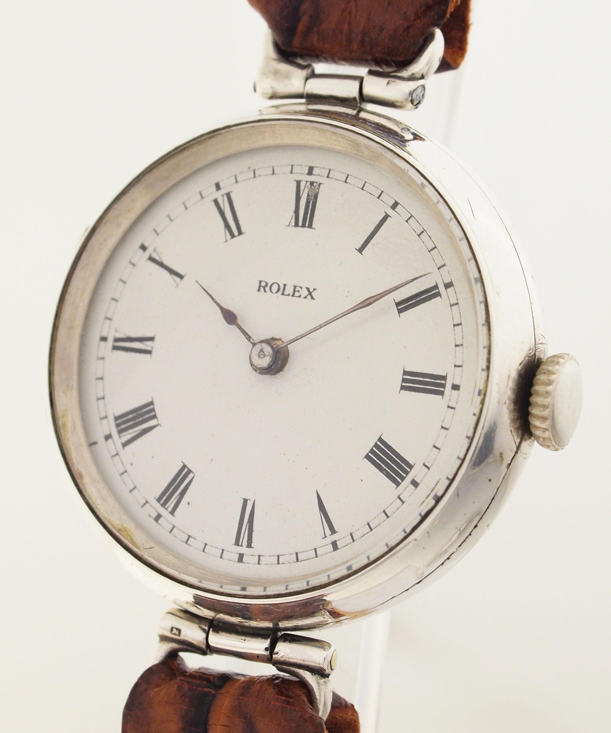 rolex eine der ersten armband uhren wilsdorf london um 1919 925er silber ebay. Black Bedroom Furniture Sets. Home Design Ideas