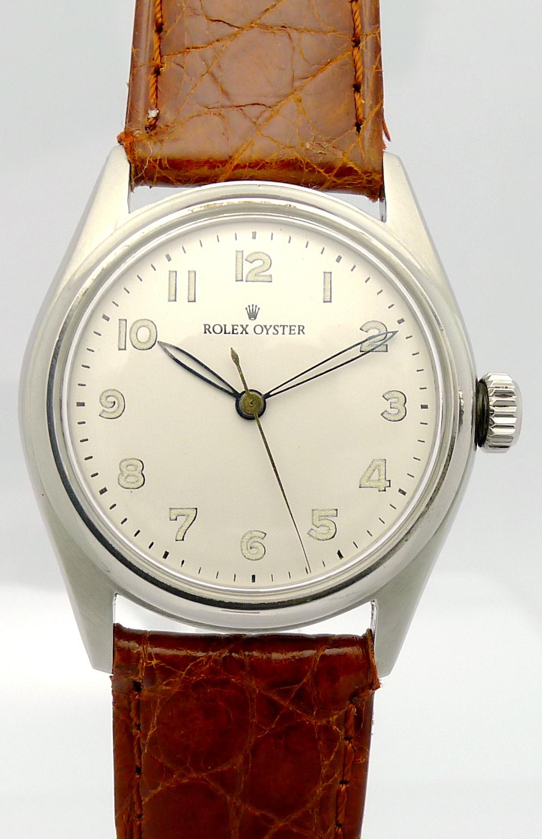 rolex oyster stahl herren armbanduhr aus den 1950er jahren. Black Bedroom Furniture Sets. Home Design Ideas