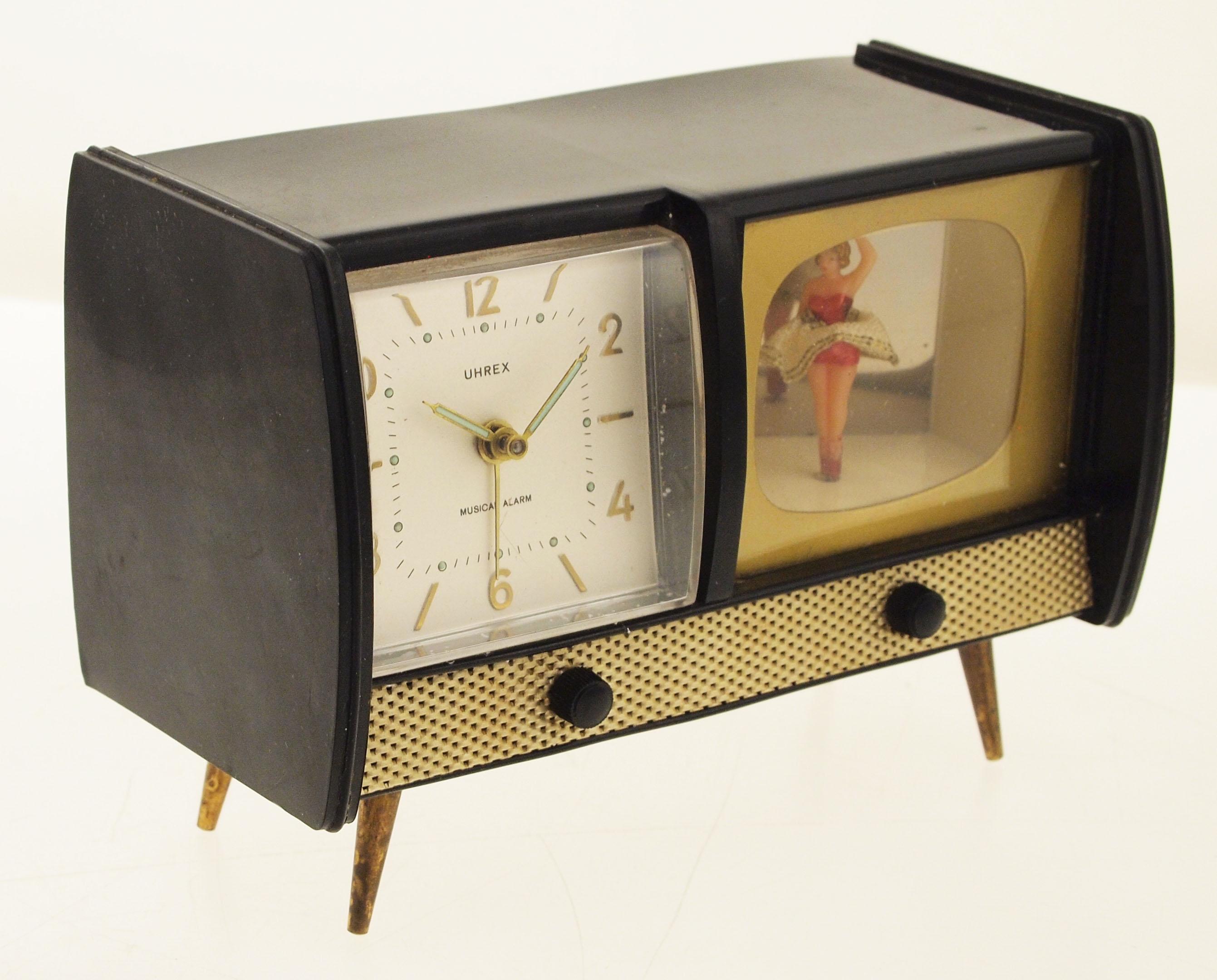 uhrex tischuhr wecker wecker mit musik figurenautomat 1950er jahre ebay. Black Bedroom Furniture Sets. Home Design Ideas