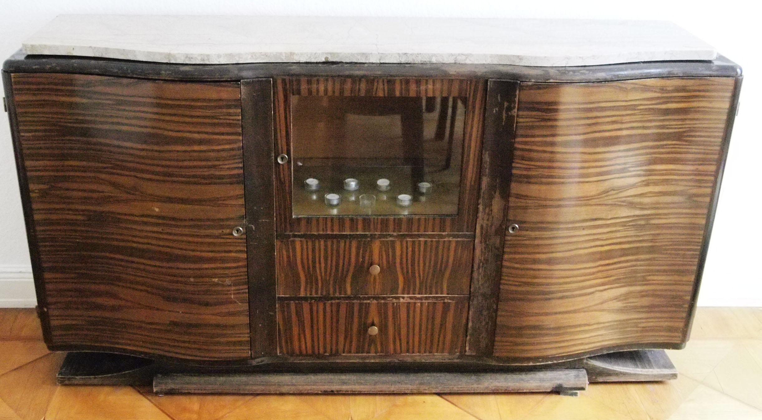 art deco sideboard anrichte makkassar furniert mit marmorplatte 1930er j ebay. Black Bedroom Furniture Sets. Home Design Ideas