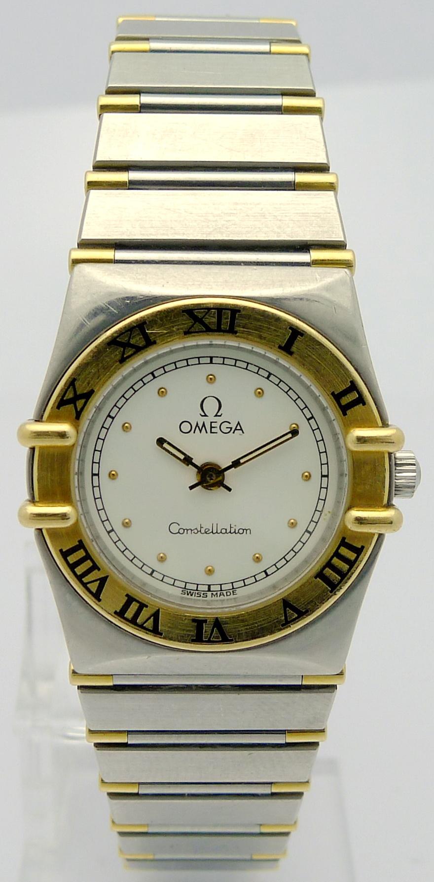 omega constellation stahl gold damen quartz armbanduhr. Black Bedroom Furniture Sets. Home Design Ideas