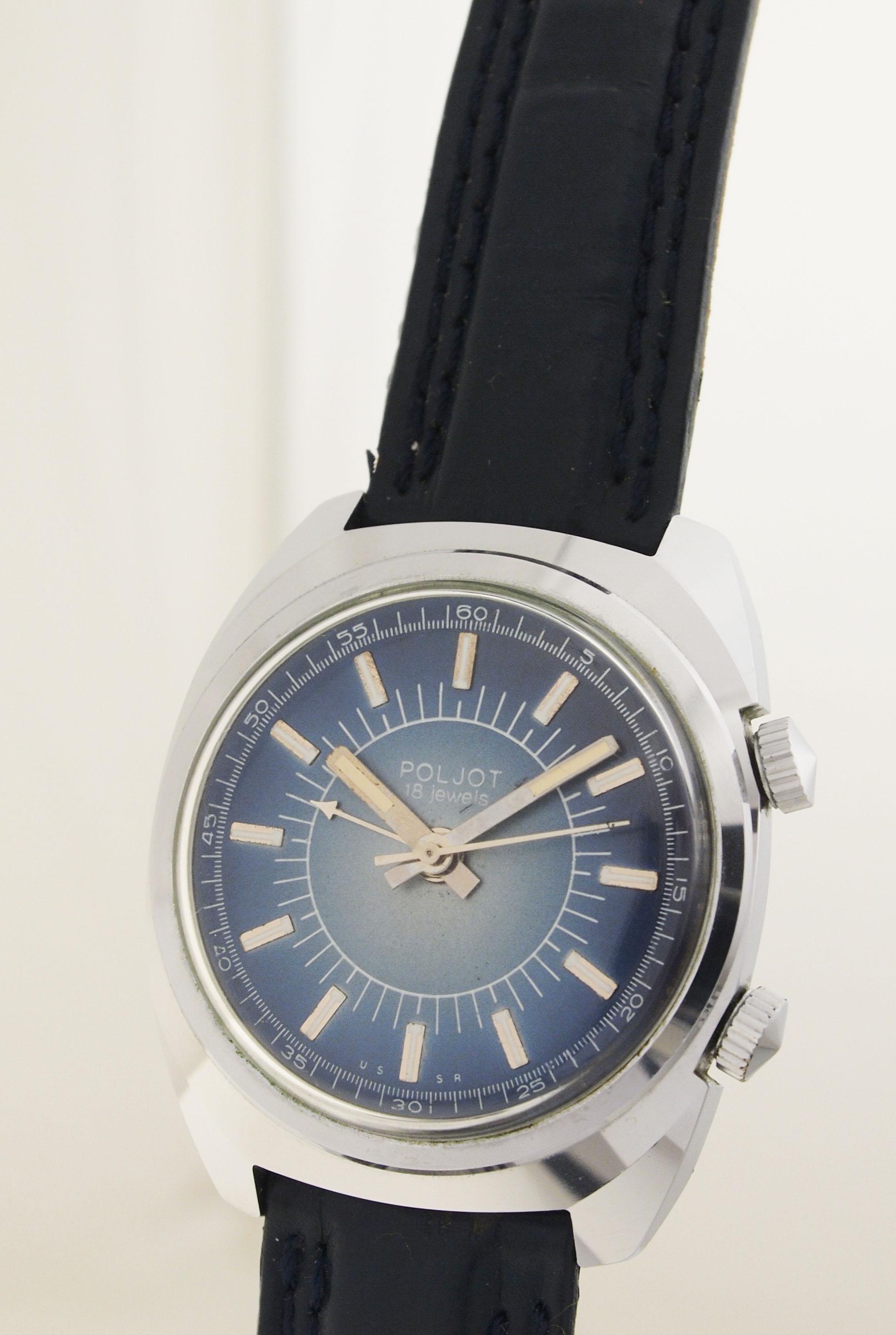 poljot herren armbanduhr mit wecker alarm made in ussr 1970er nos ebay. Black Bedroom Furniture Sets. Home Design Ideas