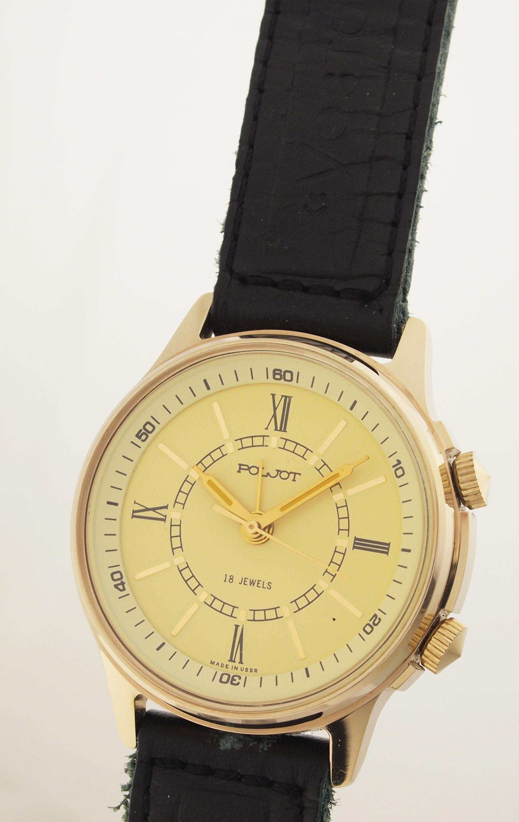 vergoldete poljot armbanduhr mit wecker alarm made in ussr 1970er nos. Black Bedroom Furniture Sets. Home Design Ideas