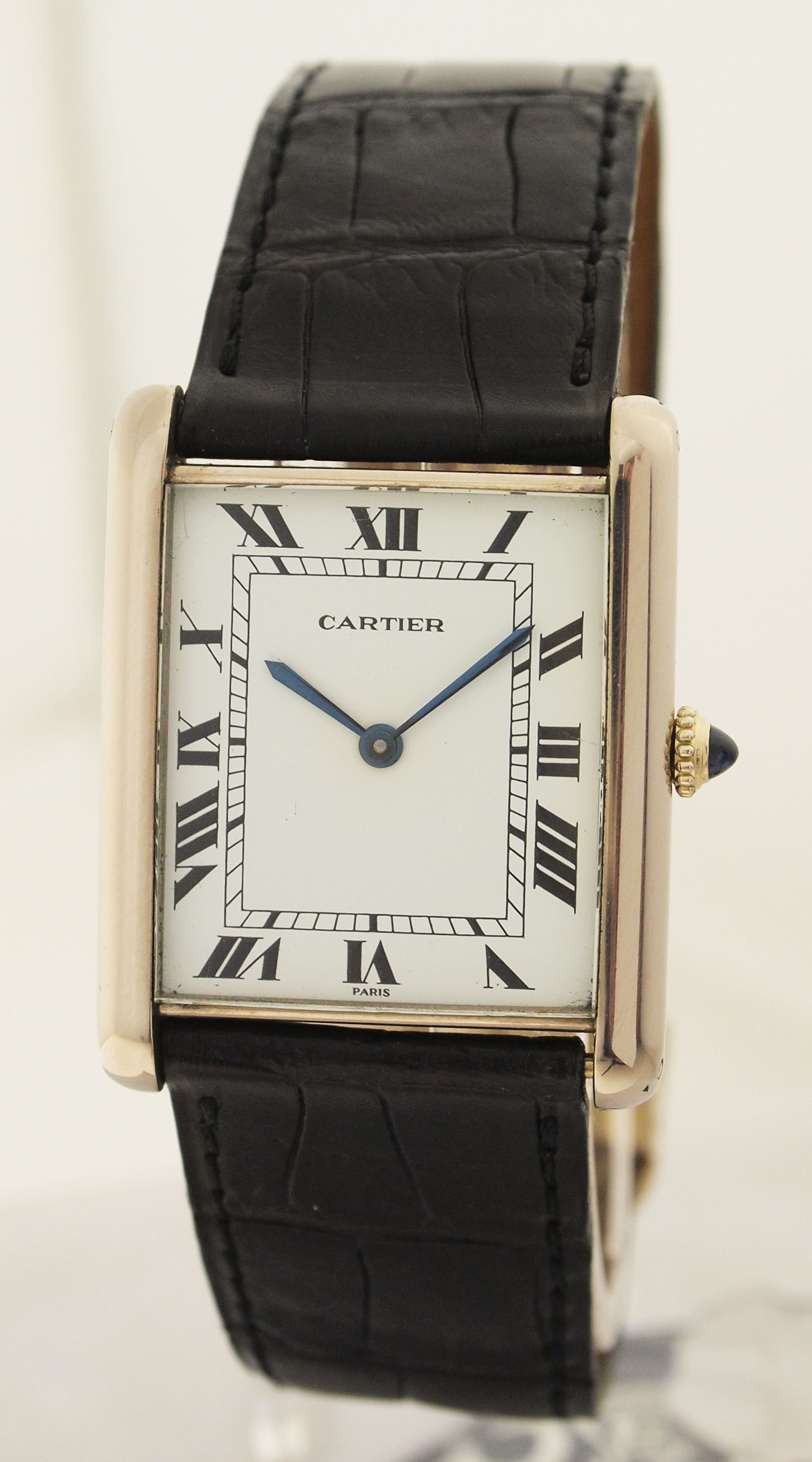 cartier tank automatic jumbo uhr in 18ct weissgold. Black Bedroom Furniture Sets. Home Design Ideas