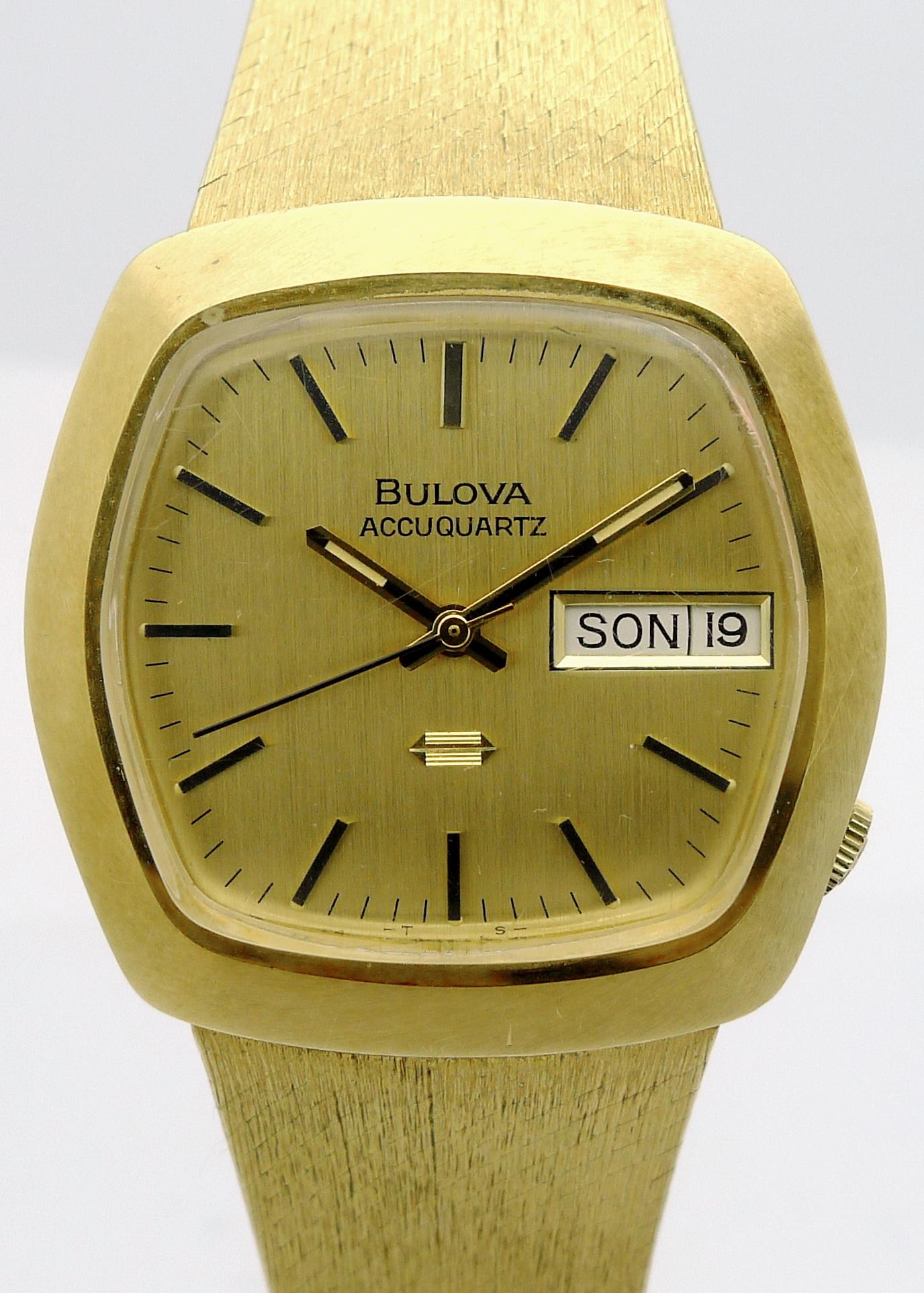 BULOVA ACCUQUARTZ 18ct GOLD HERREN-STIMMGABEL-ARMBANDUHR 89,8g ...