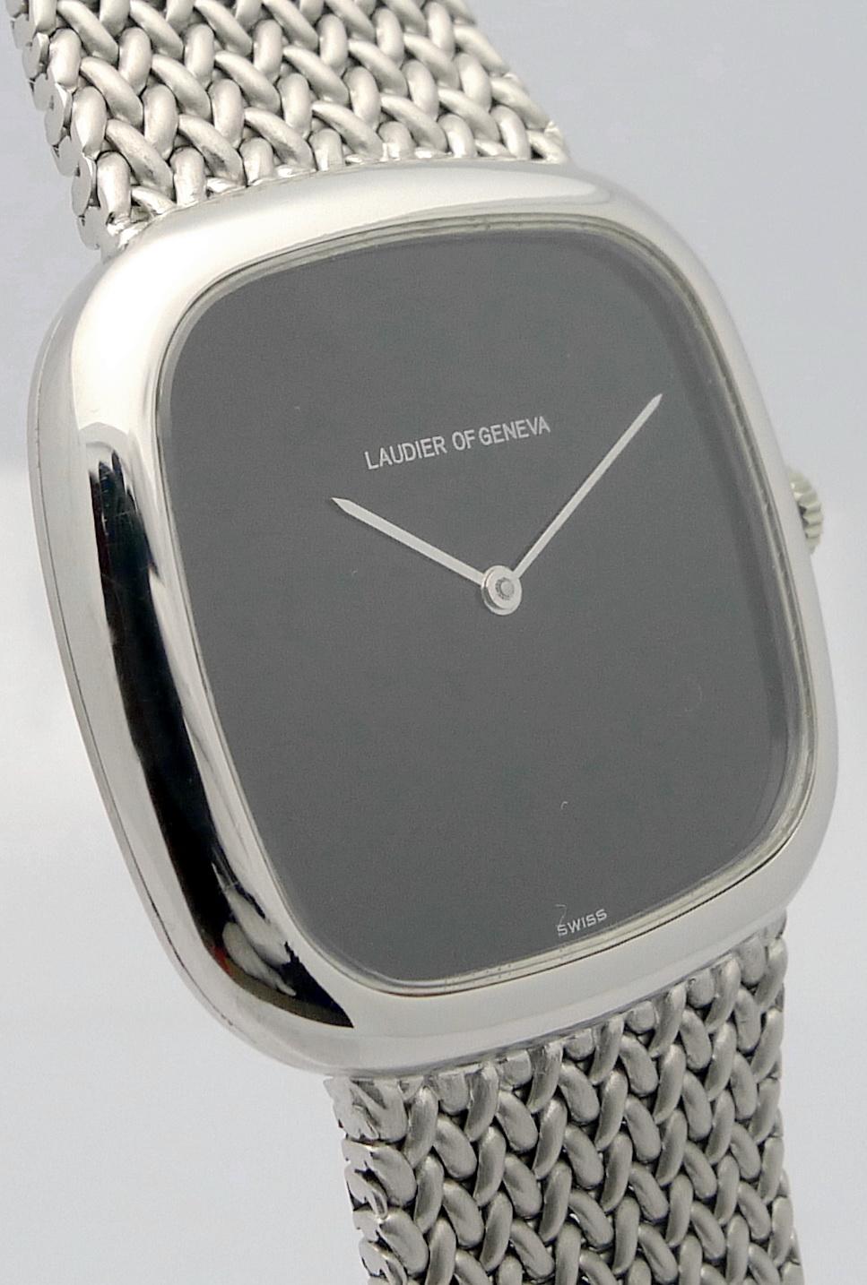 laudier geneve 18ct wei gold herren armbanduhr mit 18ct wei gold milanaiseband ebay. Black Bedroom Furniture Sets. Home Design Ideas