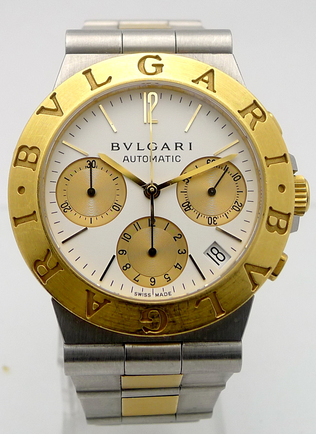 bulgari diagono stahl gold herren automatik chronograph. Black Bedroom Furniture Sets. Home Design Ideas
