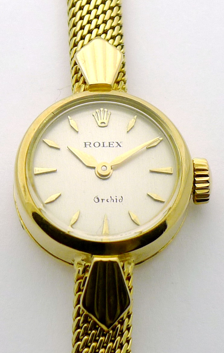 rolex orchid 18ct damen uhr im coolen 60ties design mit milanaise armband ebay. Black Bedroom Furniture Sets. Home Design Ideas