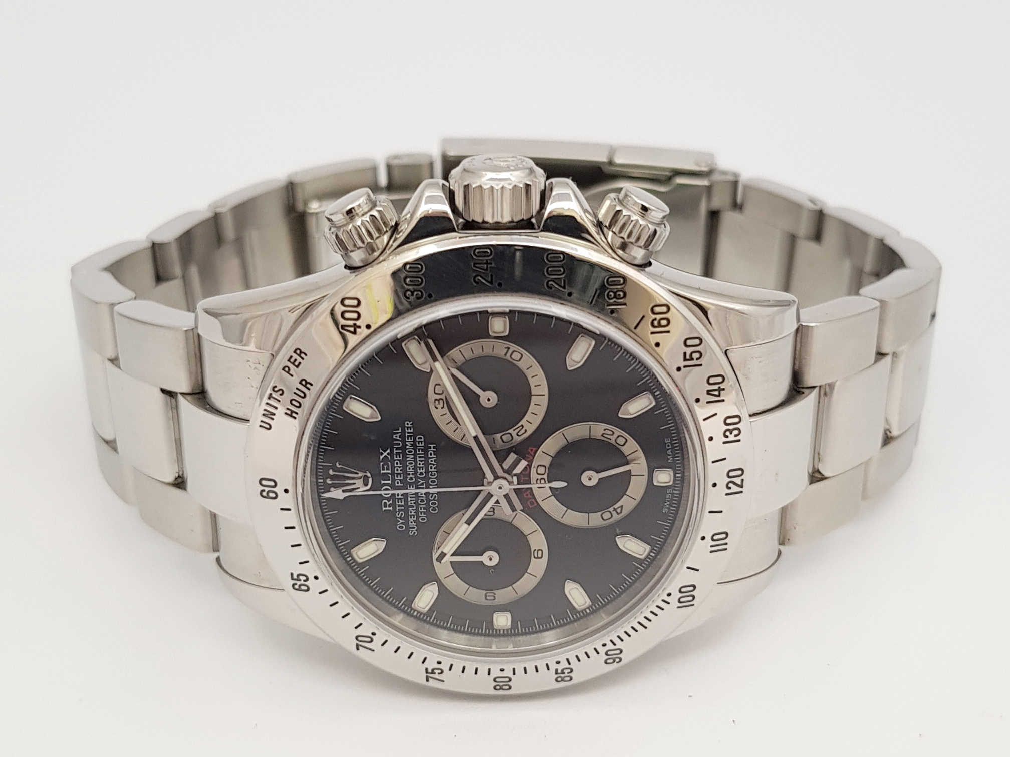 rolex daytona stahl herren cosmograph ref 116520 von 2005. Black Bedroom Furniture Sets. Home Design Ideas
