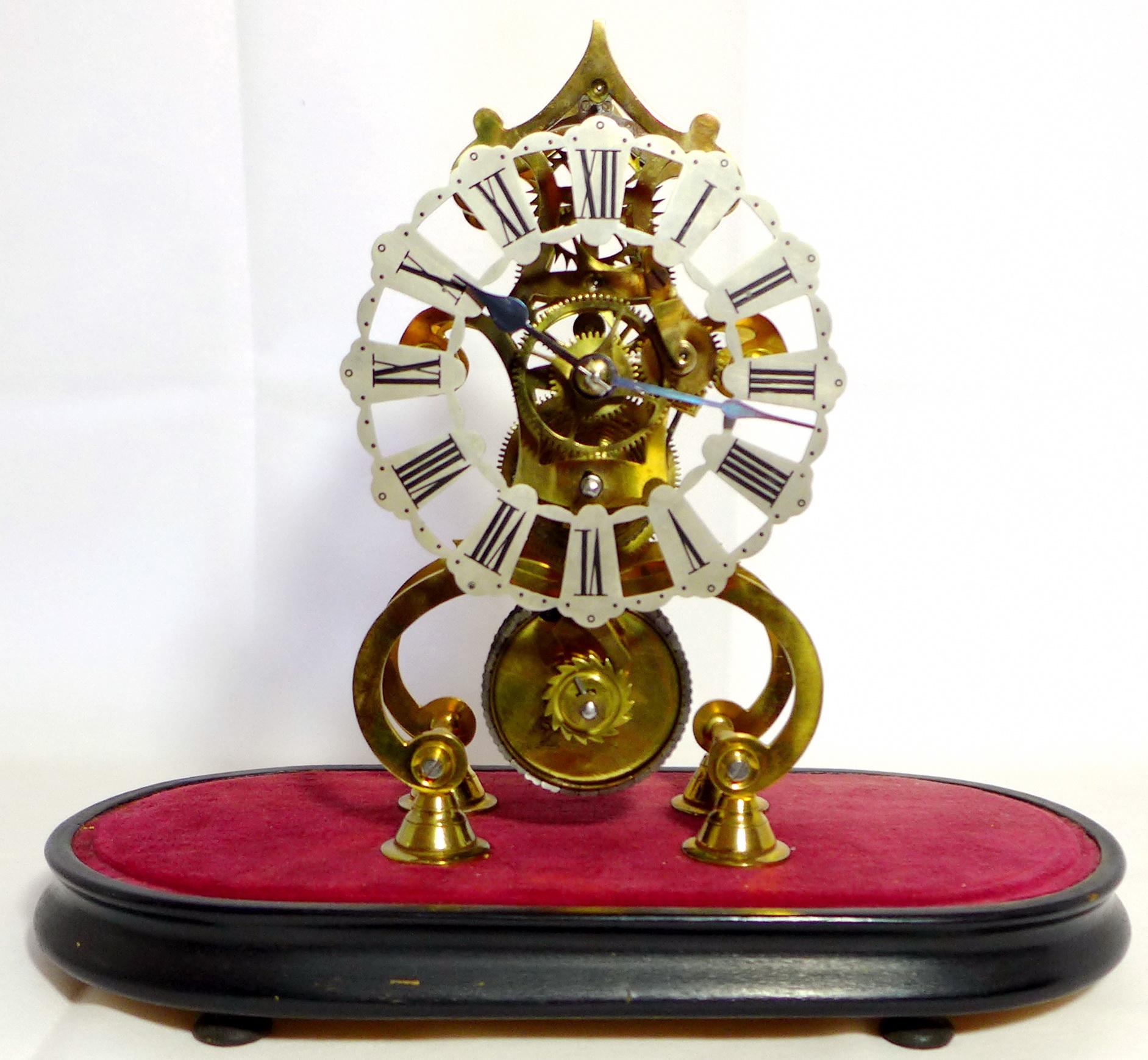 skelettierte tischuhr skeleton clock england um 1870 mit glasdom selten. Black Bedroom Furniture Sets. Home Design Ideas